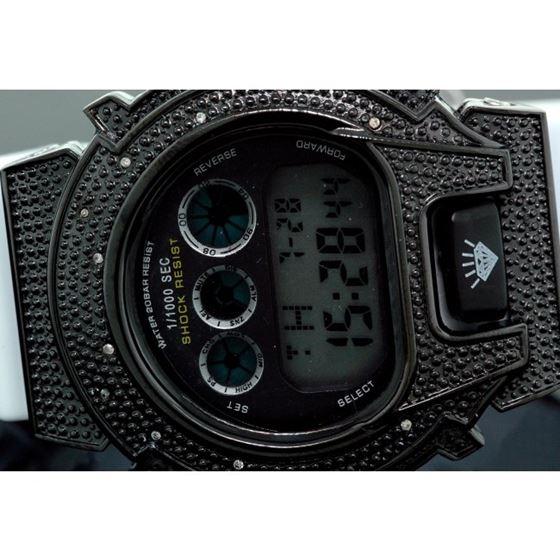 Ice Plus Mens Diamond Shock Style Watch Black Case White Band 2