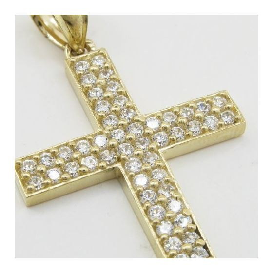 Mens 10k Yellow gold 2 row cz stone cross pendant GCHA10 2