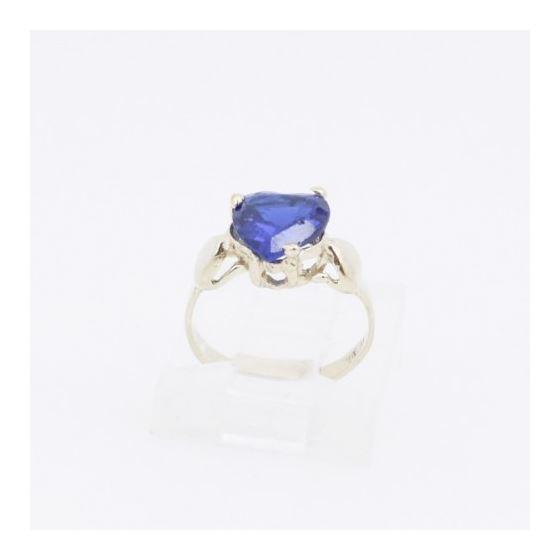 10k Yellow Gold Syntetic blue gemstone ring ajr16 Size: 1.5 2