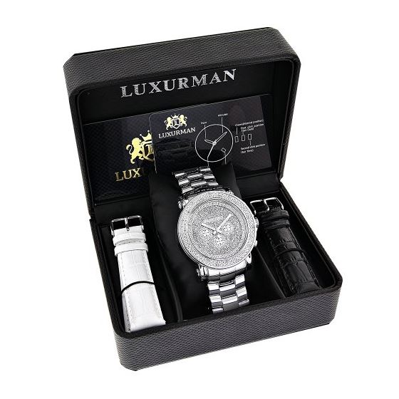 Oversized Mens Diamond Watch 0.25Ct LUXURMAN Esc-4