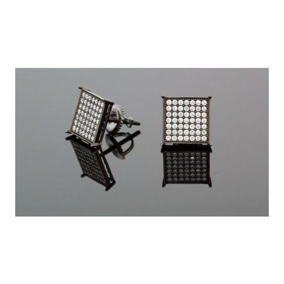 .925 Silver Black Square Black Onyx Crystal Micro Pave Unisex Mens Stud Earrings 12mm 2