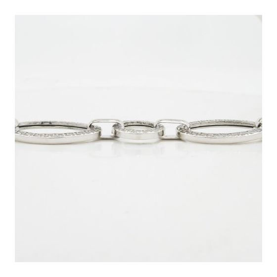 Sterling silver greek key oval round link bracelet SB105 7.5 inches long and 13mm wide 4