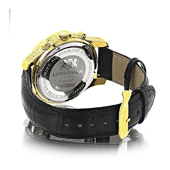 Mens Yellow Gold Plated Watch With Diamonds 0.5C-2