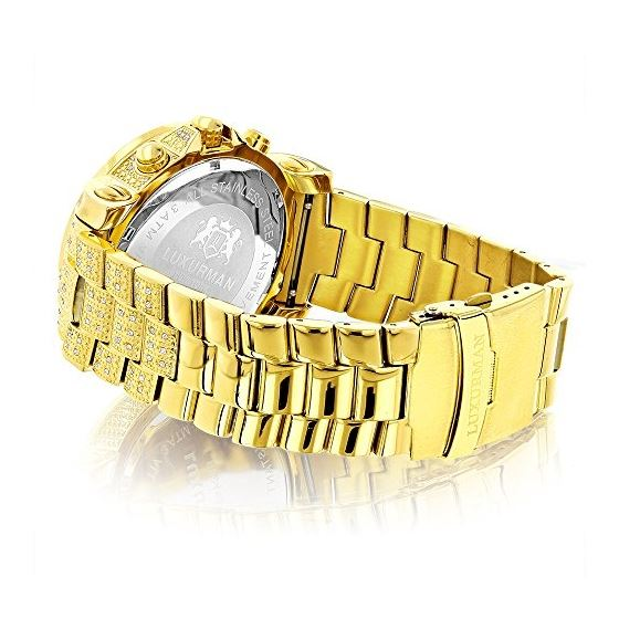 Luxurman Oversized Iced Out Mens Diamond Watch Yellow Gold 2ct Chronograph 2