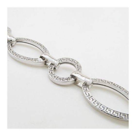 Sterling silver greek key oval round link bracelet SB105 7.5 inches long and 13mm wide 2
