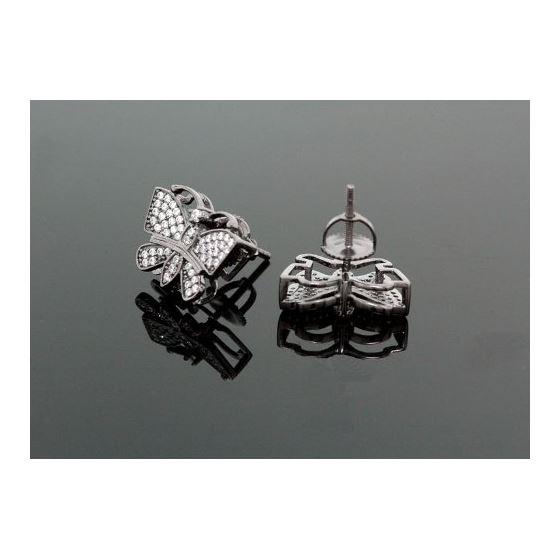 Sterling Silver Butterfly Fashion Hand Set Stud Earrings ME0209 2