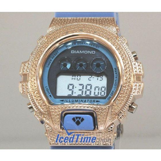 Aqua Master Shock Diamond Mens Rose Watc 55507 2