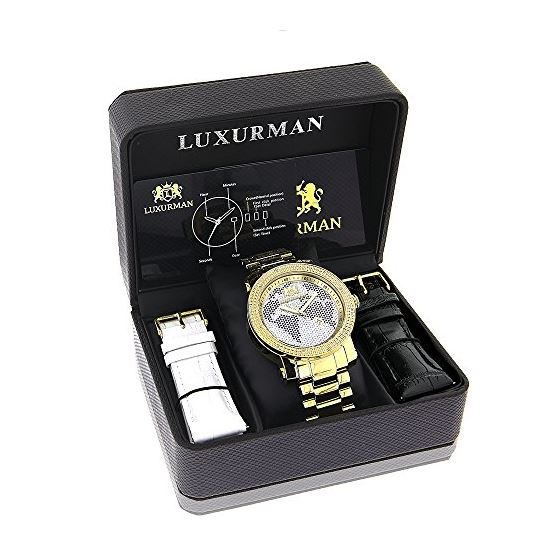 Mens World Map Diamond Watch By LUXURMAN 0.12Ct-4