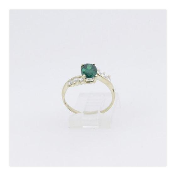 10k Yellow Gold Syntetic green gemstone ring ajr8 Size: 8 2
