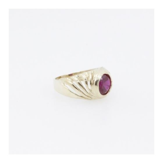 10k Yellow Gold Syntetic red gemstone ring ajjr88 Size: 2 4