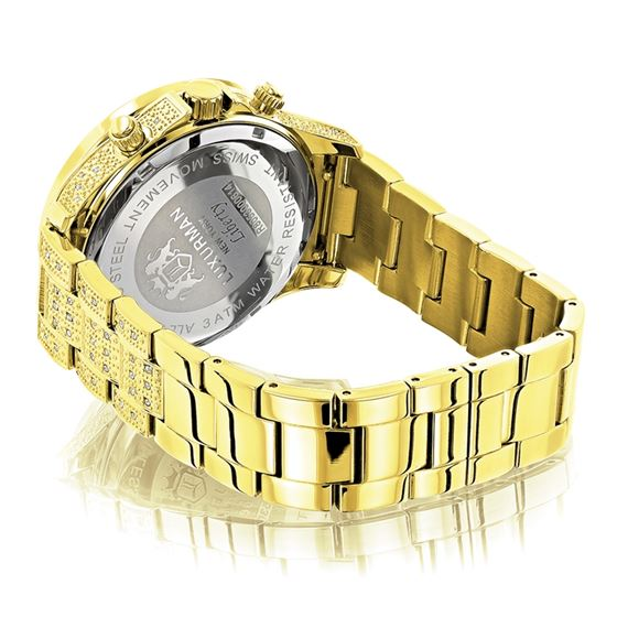 LUXURMAN ICED OUT MENS DIAMOND WATCH 3CT 45 2