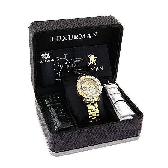 Luxurman Womens Real Diamond Yellow Gold Plated Montana Watch 2ct Extra Straps 4
