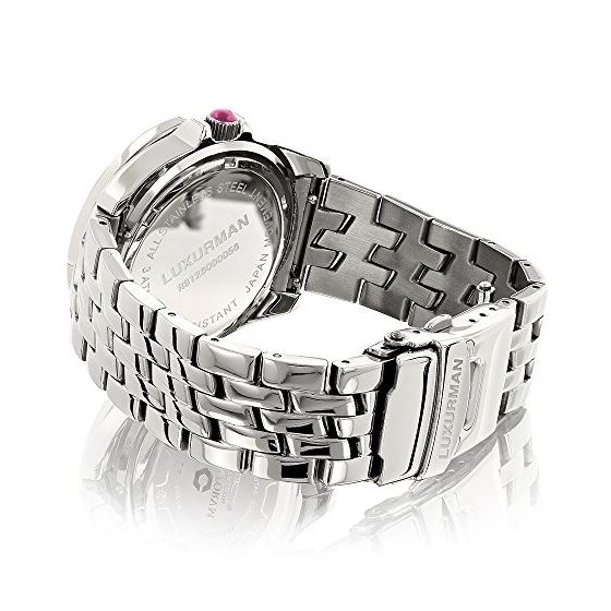 Ladies Real Diamond Watch 0.25ct Pink MOP Bezel Luxurman Interchangable Straps 2