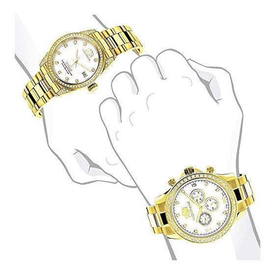 Matching His And Hers Watches: Yellow Gold Plate-4