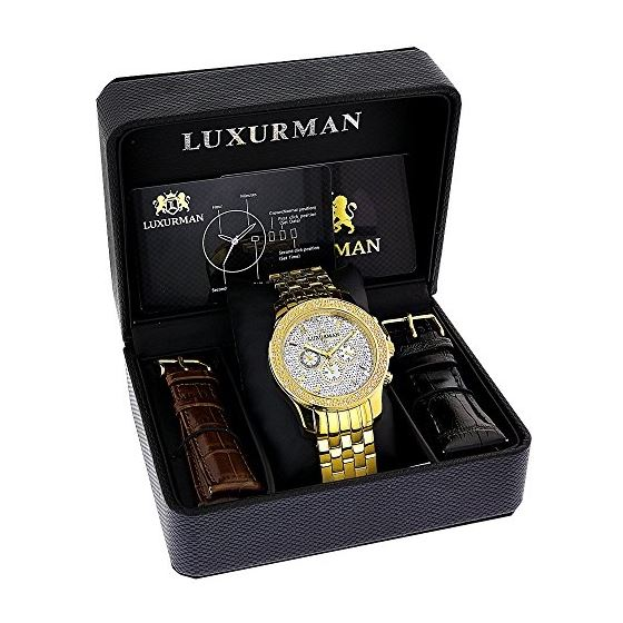 Yellow Gold Tone Watches: Luxurman Mens  91133 4