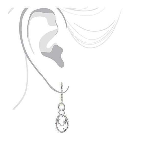 14K Ladies Natural 0.5 Ctw Diamond Drop Earrings-4