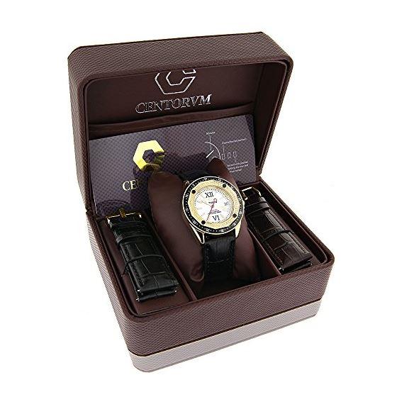 18K Gold Plated Watch With Diamonds 0.5Ct Midsiz-4
