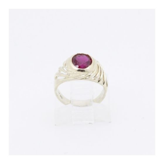 10k Yellow Gold Syntetic red gemstone ring ajjr88 Size: 2 2