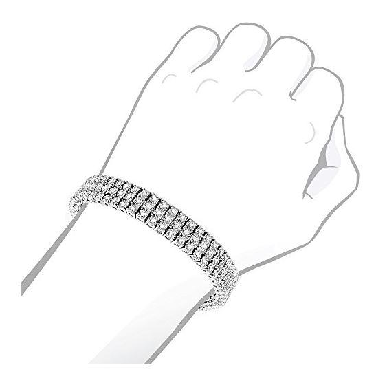 10K 3-Row Prong Set Natural Diamond Bracelet For-4