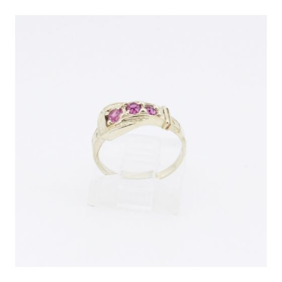 10k Yellow Gold Syntetic red gemstone ring ajjr35 Size: 3.75 2