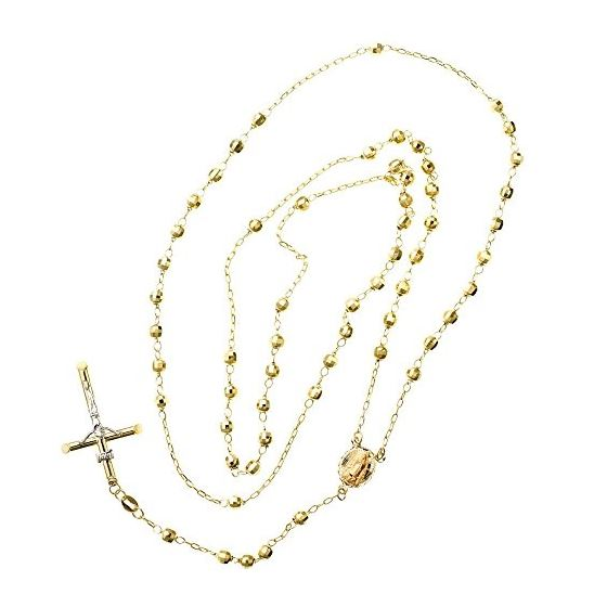 10K YELLOW Gold HOLLOW ROSARY Chain - 28 Inches Long 3.8MM Wide 2