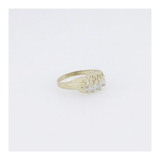 10k Yellow Gold Syntetic white love gemstone ring ajr26 Size: 7 4