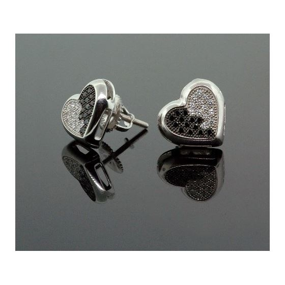 .925 Sterling Silver White Heart White and Black Onyx Crystal Micro Pave Unisex Mens Stud Earrings 2