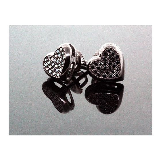 .925 Sterling Silver Black Heart Black Onyx Crystal Micro Pave Unisex Mens Stud Earrings 8mm 2