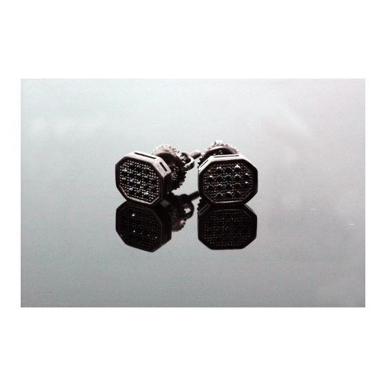 .925 Sterling Silver Black Octagon Black Onyx Crystal Micro Pave Unisex Mens Stud Earrings 10mm 2