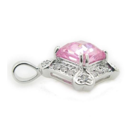 Ladies .925 Italian Sterling Silver fancy pendant with pink stone Length - 23mm Width - 17mm 4