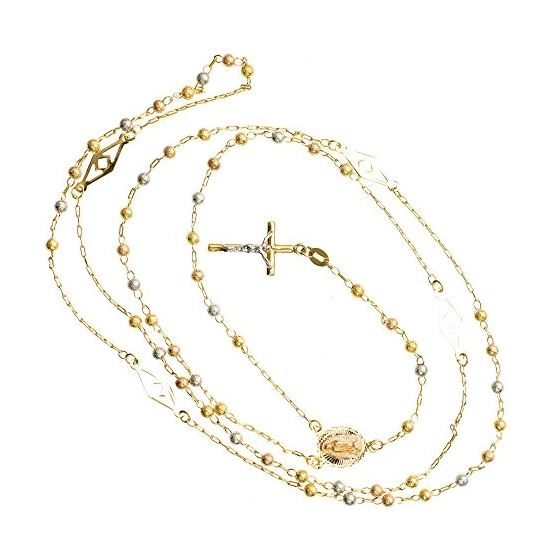 14K 3 TONE Gold HOLLOW ROSARY Chain - 30 Inches Long 3.02MM Wide 2