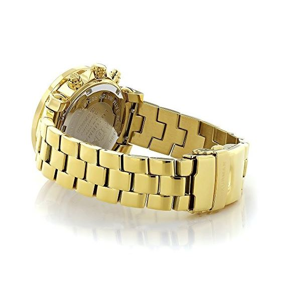 Luxurman Womens Real Diamond Yellow Gold Plated Montana Watch 2ct Extra Straps 2