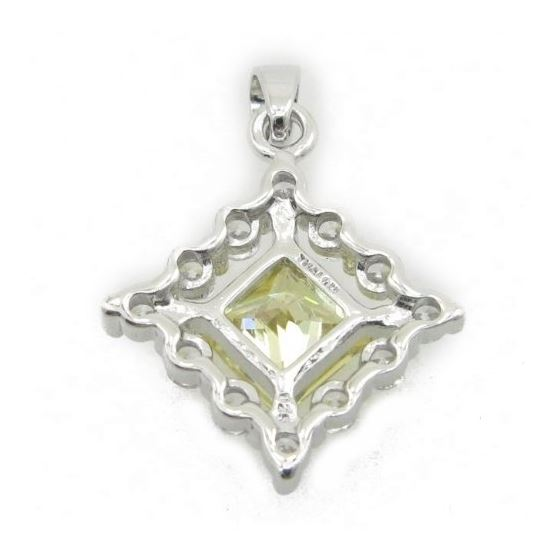 Ladies .925 Italian Sterling Silver fancy pendant with yellow stone Length - 26mm Width - 19mm 4
