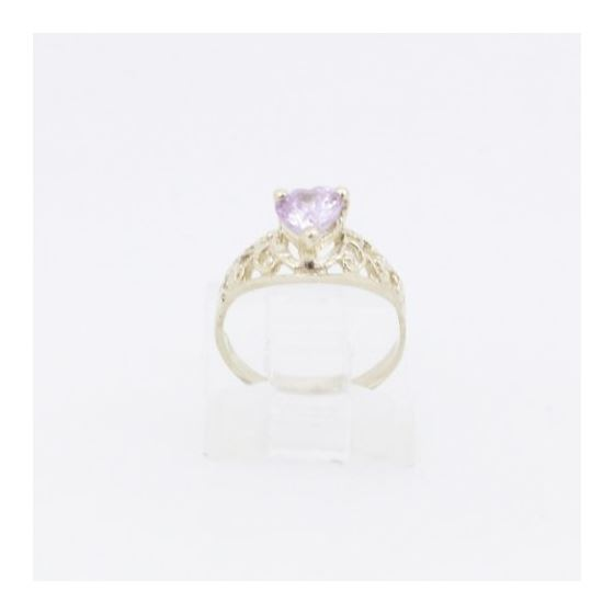 10k Yellow Gold Syntetic pink gemstone ring ajjr75 Size: 2.25 2