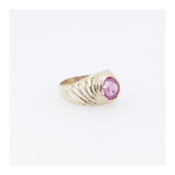 10k Yellow Gold Syntetic red gemstone ring ajjr83 Size: 2 4