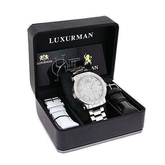 Luxurman Mens Real Diamond Watch 0.12ct  90299 4