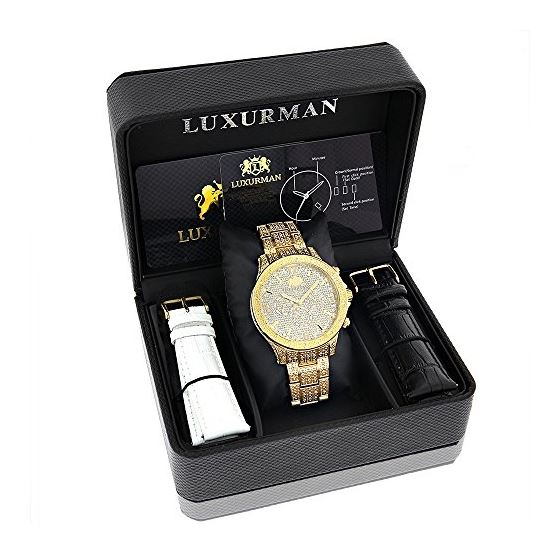 LUXURMAN Iced Out Mens Diamond Liberty Watch 1.2-4