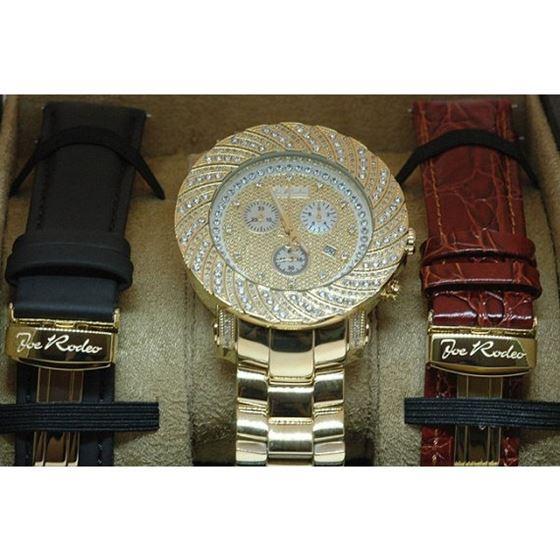 Joe Rodeo Watches: Mens Junior Diamond Watch 4.25 Yellow Gold 4