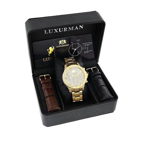 Luxurman Liberty Mens Real Diamond Watch 90244 4