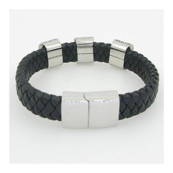 Womens genuine leather braided cuff crystal bracelet bangle fashion jewelry swag 4