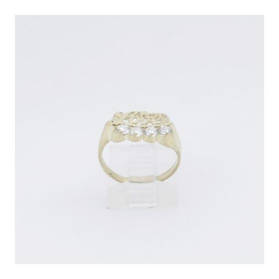 10k Yellow Gold Syntetic white love gemstone ring ajr26 Size: 7 2