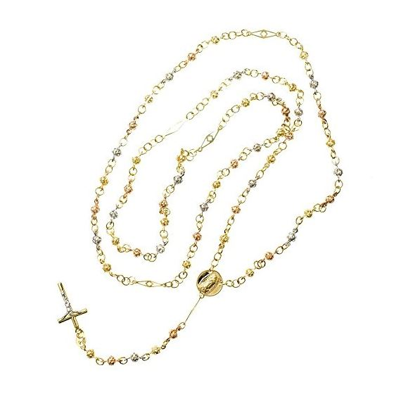 10K 3 TONE Gold HOLLOW ROSARY Chain - 28 Inches Long 3.5MM Wide 2