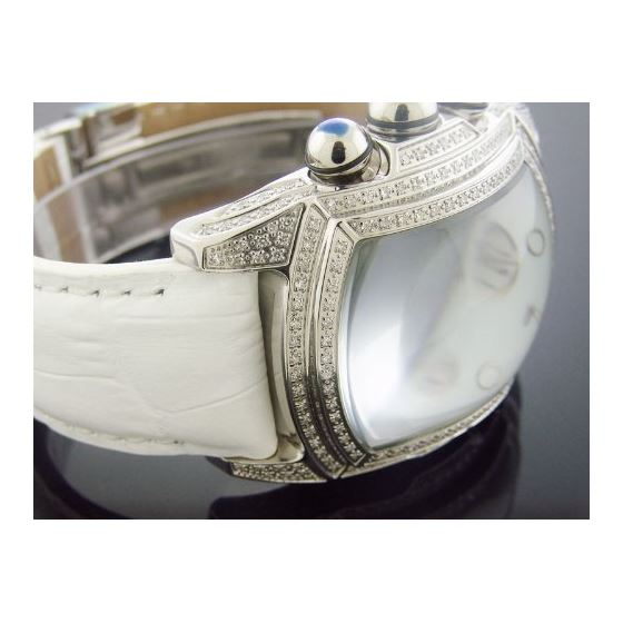 2.50Ct Diamonds Full Case White Face Band Watch-2