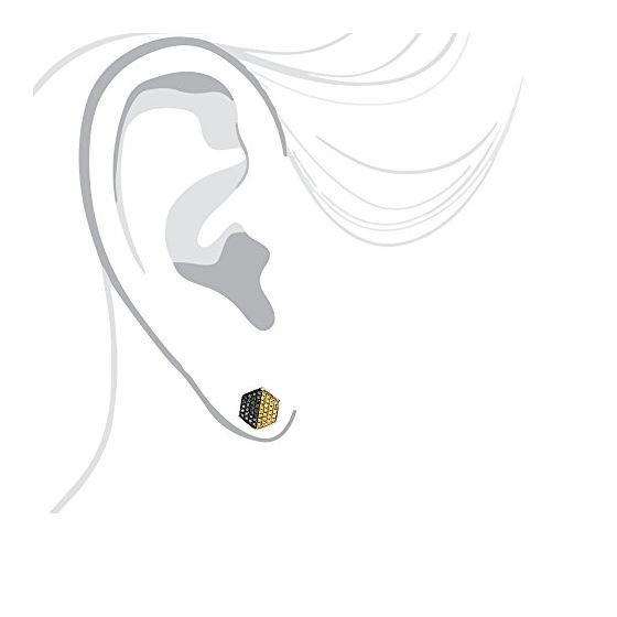 Yellow Black Diamond Earrings Sterling S 84763 4