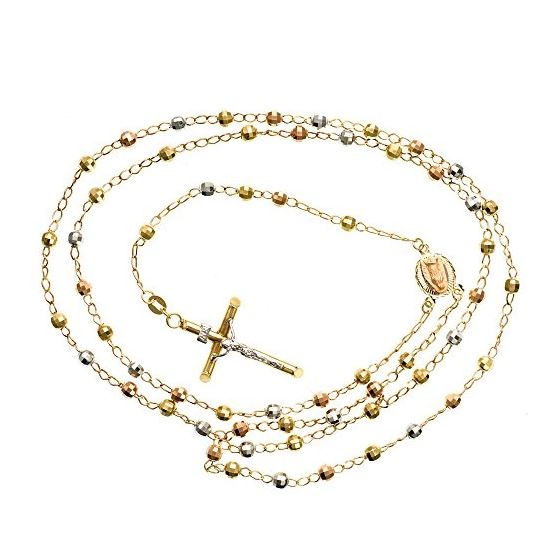 14K 3 TONE Gold HOLLOW ROSARY Chain - 28 Inches Long 3.9MM Wide 2