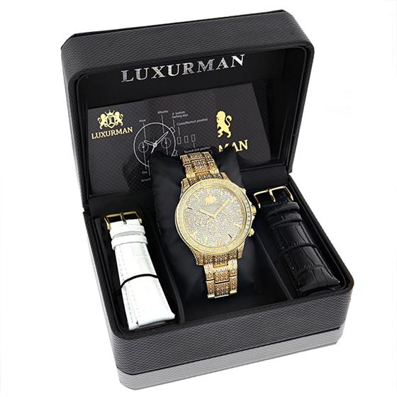 LUXURMAN ICED OUT MENS DIAMOND WATCH 3CT 47 4