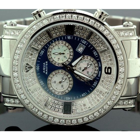 Aqua Master Diamond Mens Watch 3.60ct w104b 2