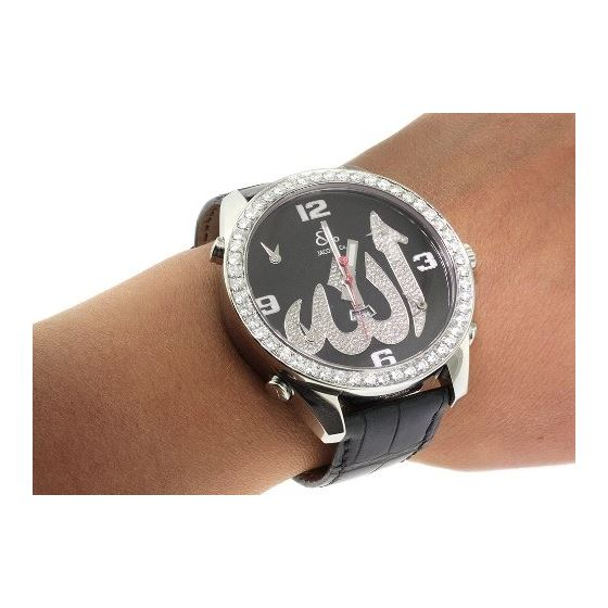 Jacob Co. Black Leather Band Fivetime Zone 4.5Ct-4