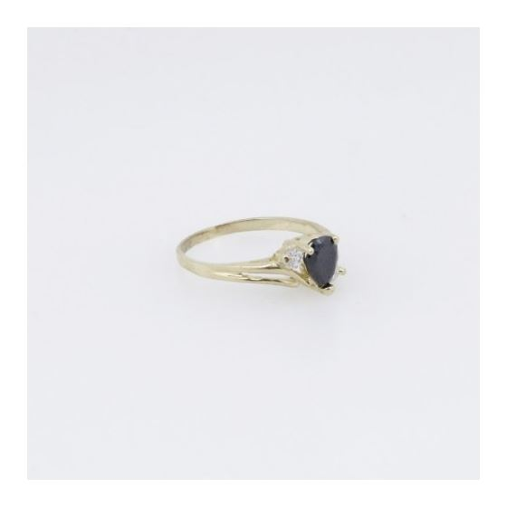 10k Yellow Gold Syntetic black gemstone ring ajr28 Size: 6.75 4