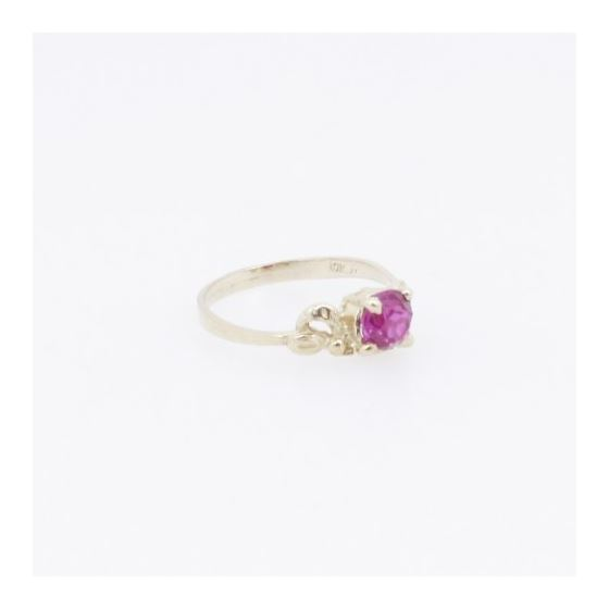 10k Yellow Gold Syntetic red gemstone ring ajr5 Size: 3.5 4